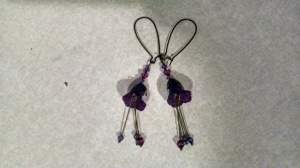 cool purple flower earrings I made from a kit that I purchased at least 6 years ago and had never bothered to make until Sunday